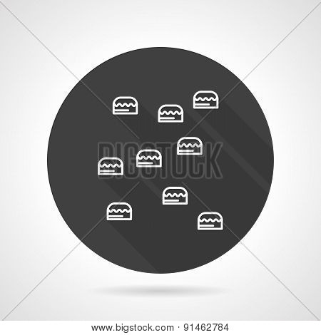 Climb wall black round vector icon