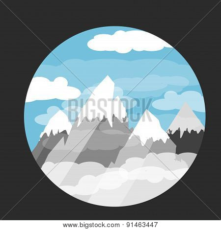 capped mountains in the clouds