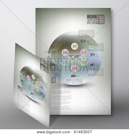 Abstract infographic pattern with dotted world globe. Brochure, flyer or report for business, templa