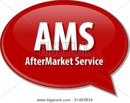 word speech bubble illustration of business acronym term AMS AfterMarket Service