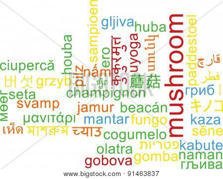 Background concept wordcloud multilanguage international many language illustration of mushroom