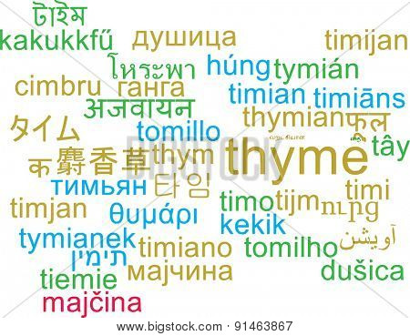 Background concept wordcloud multilanguage international many language illustration of thyme