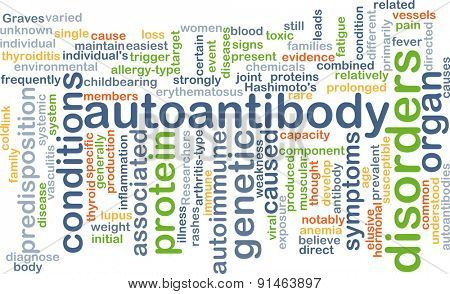 Background concept wordcloud illustration of autoantibody