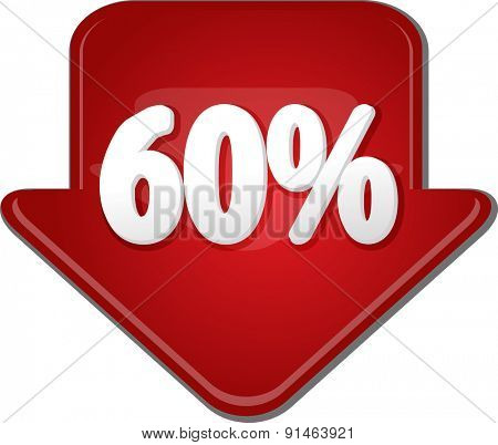 Downward glossy red arrow percent discount sixty 60