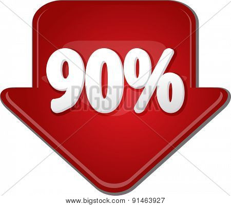 Downward glossy red arrow percent discount ninety 90