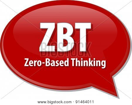 word speech bubble illustration of business acronym term ZBT Zero-Based Thinking