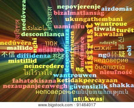 Background concept wordcloud multilanguage international many language illustration of distrust glowing light