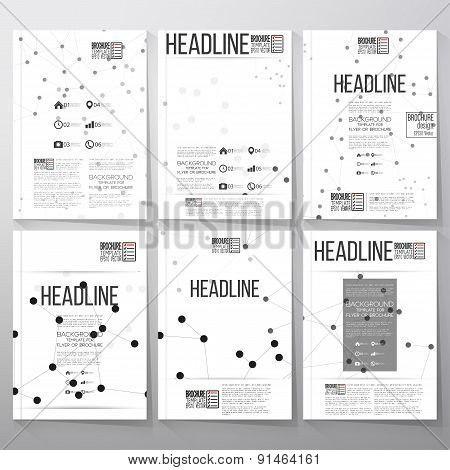 Brochure, flyer or report for business and scientific vector template with molecular structure backg