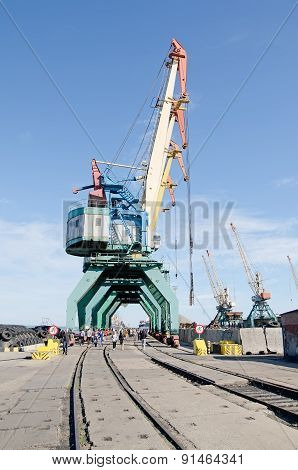Port Cranes In Port Of Kerch