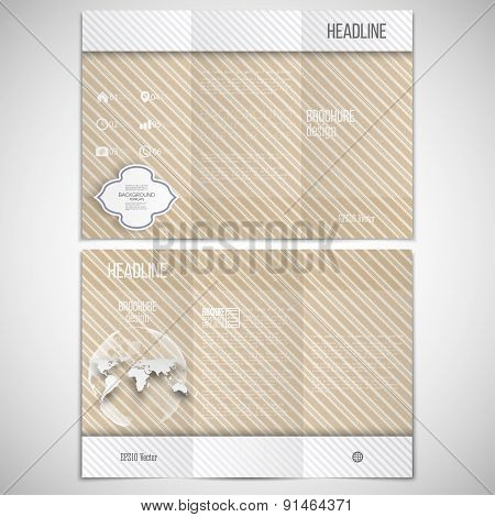 Vector set of tri-fold brochure design template on both sides with world globe element. Vintage styl
