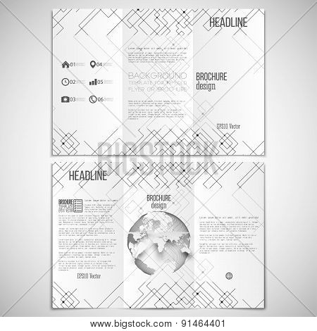Vector set of tri-fold brochure design template on both sides with world globe element.  Connected l