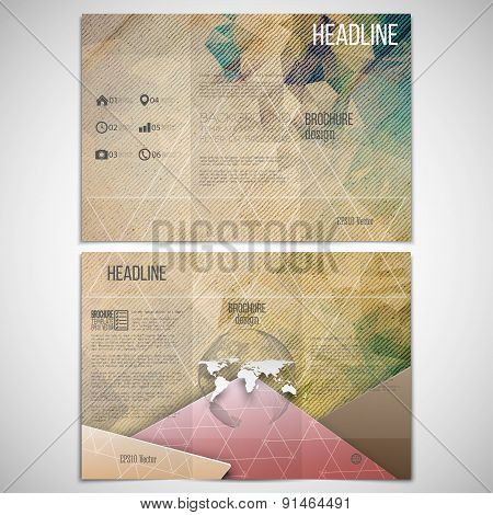 Vector set of tri-fold brochure design template on both sides with world globe element. Wooden geome