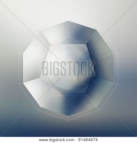 Polygon pattern with the reflection, minimalistic geometric facet crystal logo on blurred background