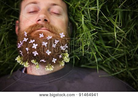 a sleeping hipster lying in tall grass with lilacs in his epic beard taking a nap toned with a retro vintage instagram filter and light leaks