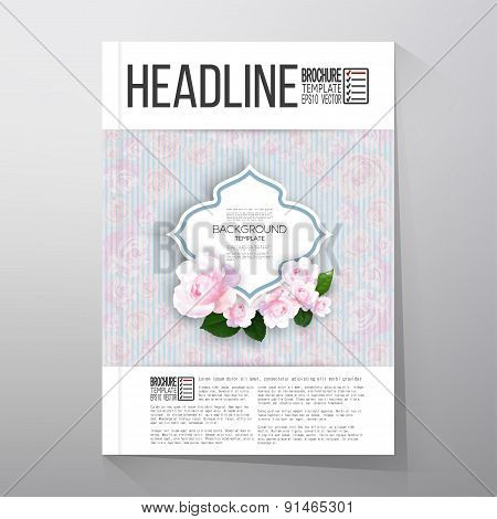 Floral background with place for text and pink flowers over linear blue background, canvas texture.