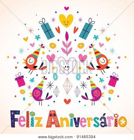 Feliz Aniversario Brazilian Portuguese Happy Birthday card