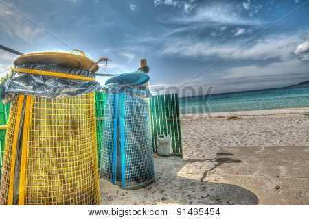 Trash Cans By The Shore In Hdr