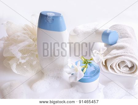 Body Care And Beauty Products Front View With Foam