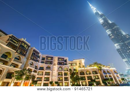 Dubai - JANUARY 9, 2015: Burj Khalifa building on January 9 in UAE, Dubai. Burj Khalifa skyscraper is tallest in the world