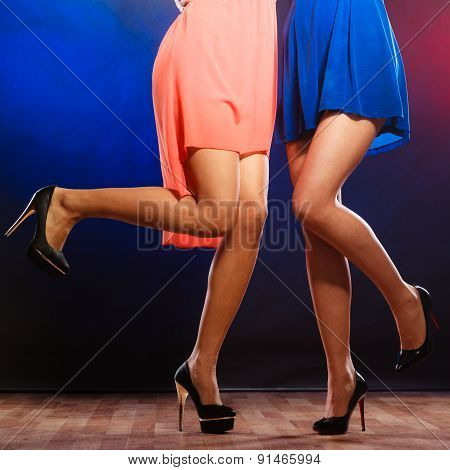 Female Legs In High Heels Dancing