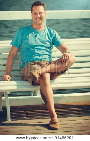 Handsome Man Tourist On Pier. Fashion Summer.