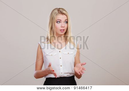 Attractive Confused Girl On Gray