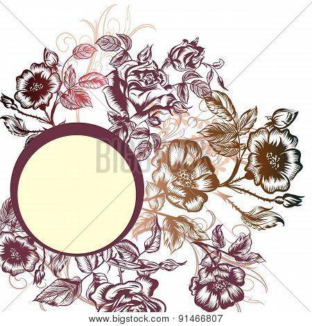 Floral Vector Background With Roses And Banner For Text For Design
