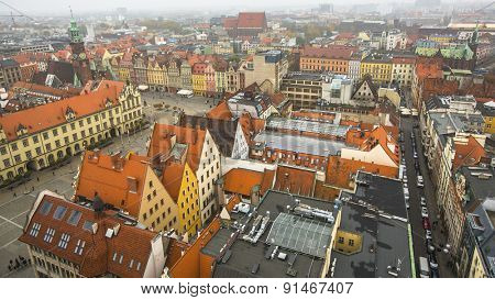 Top view of the historical centre of Wroclaw, Poland.