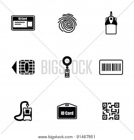 Vector ID card icon set