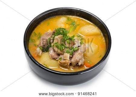 Soup pork shank with potatoes and spices. From a series of Food Korean cuisine.