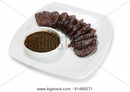 Sund - blood sausage of pork with rice and soy sauce. From a series of Food Korean cuisine.