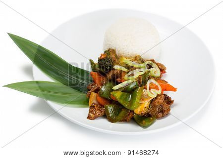Ricecurry spicy dish, served with roasted meat, vegetables and rice with curry sauce. From a series of Food Korean cuisine.