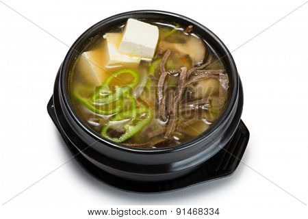 Mushroom soup with vegetables, beef and tofu. From a series of Food Korean cuisine.