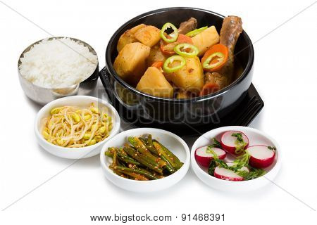 Boiled potatoes with chicken with spicy salads. From a series of Food Korean cuisine.