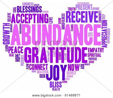 Abundance Heart Shaped Word Cloud