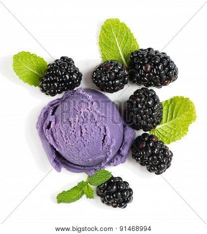 Berry Ice Cream With Blackberries, Top View