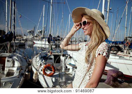 Attractive Blonde Woman In Harbor.