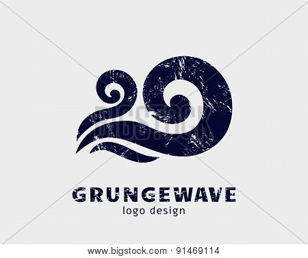 Grunge Wave Logo Template. Vector Icon.