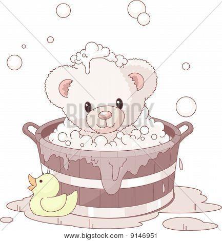 Cute Teddy Bear Bathing