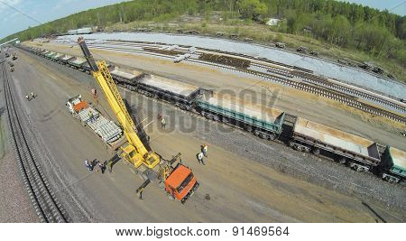 MOSCOW, RUSSIA - APR 30, 2014: Construction site of beltway railroad widening for opening of passenger traffic. Aerial view
