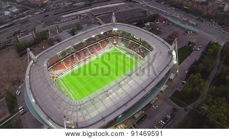RUSSIA, MOSCOW - 28MAR, 2014: Aerial view of Illuminated soccer arena Locomotive.