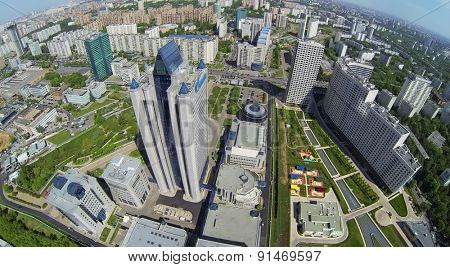 RUSSIA, MOSCOW - MAY 16, 2014: Cityscape with corporate complex of Gazprom company at spring sunny day. Aerial view.