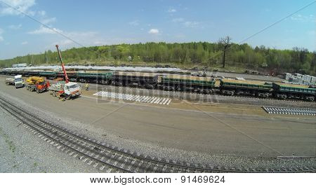RUSSIA, MOSCOW - APR 30, 2014: Construction site of railroad beltway widening for passenger traffic opening. Aerial view