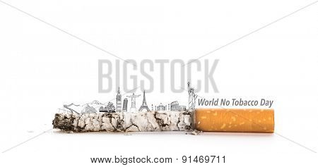 World No Tobacco Day : Cigarette butt with Most Famous Landmarks  in the World   (Japan,France,Italy ,New York,India,egypt)