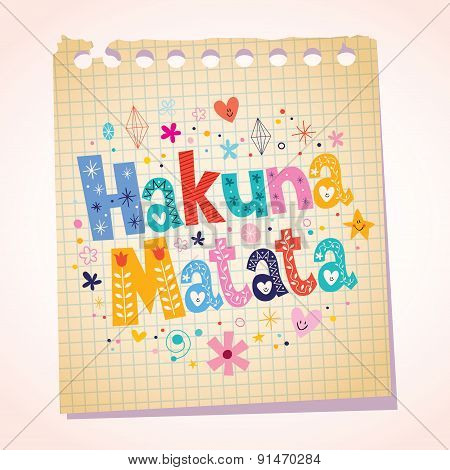 Hakuna Matata phrase notepad paper cartoon illustration