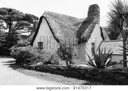 Typical Old Style Thatched Roof Whitewashed Country Cottage