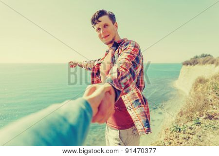 Loving Couple Resting On Coast