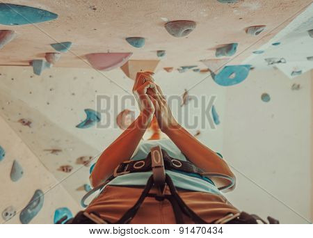Woman Preparing To Climb