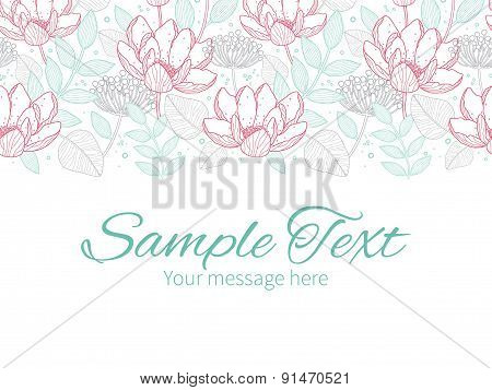 Vector modern line art florals horizontal border greeting card invitation template