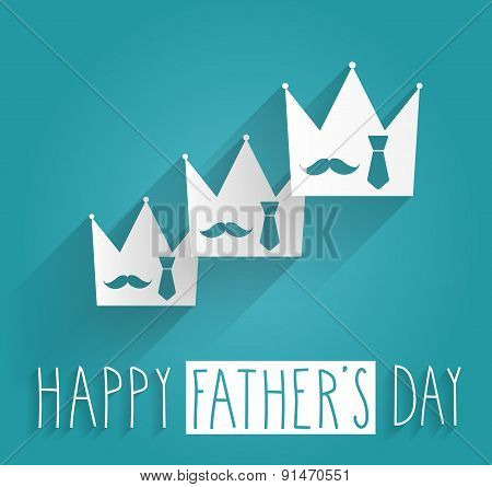 Hand Drawn Happy Fathers Day. Tie and mustache in white crown on blue background